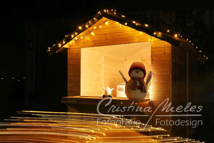Schneemann als Dekoration bei einer Weihnachtsfeier