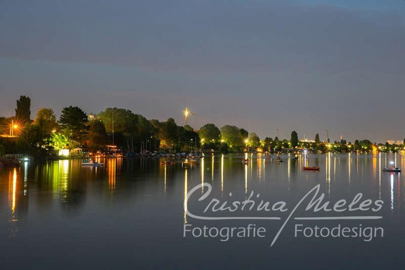 Schönes Fest der Lichter an der Alten Donau in Wien
